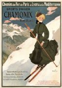 Vintage Sports D'Hiver Chamonix Mont Blanc French Advertising Poster.